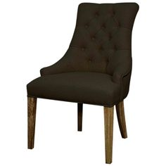 MSRP $340 Contractor Price $179  Celestia Fabric Tufted Chair Drift Wood Legs, Bark. The gray fabric is lighter in person than the photo shows