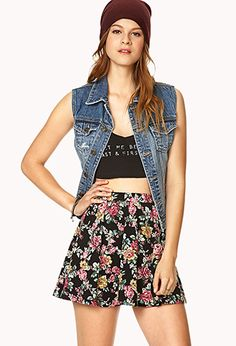 Cute skater skirt with crop top and jean jacket perfect for fall spring and summer