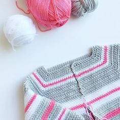 Crochet Pink and Gray Baby Sweater - Daisy Farm Crafts Instagram