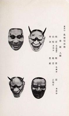 Four Japanese masks. Nishi Honganji Ōtani-ke o. 1913