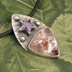 """Lepidocrocite in Phantom Quartz """"A Higher Light"""" Sterling Pendant with Faceted Purple CZ Star - OOAK by marybird on Etsy"""