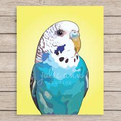 Lámina de Perico periquito azul impresión Perico pintura