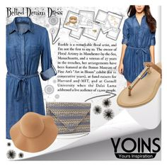"""""""Belted Denim Dress"""" by lialondon ❤ liked on Polyvore featuring WallPops, Sans Souci, women's clothing, women's fashion, women, female, woman, misses, juniors and yoins"""