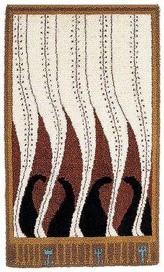 Design Akseli Gallen-Kallela 1900 : Liekki Scandinavian Embroidery, Simple Geometric Designs, Rya Rug, Art Nouveau, Art Deco, Geometry Pattern, Cool Rugs, Rug Hooking, Handmade Rugs