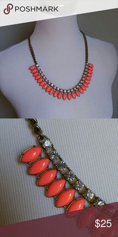 """J Crew neon coral rhinestone petal necklace A perfect statement necklace for summer. Great preloved condition. Antique gold hardware. 20-22"""" length. J. Crew Jewelry Necklaces"""