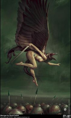 The Morrigan is an ancient Celtic goddess of battle, strife, war and perhaps ironically, fertility. She is often depicted in the form of a crow or raven. Similar to the Valkyries in Norse mythology, the Morrigan used her magic to hinder or help warriors, as she saw fit