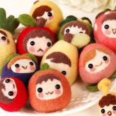 Needle felting fruit faces/dolls