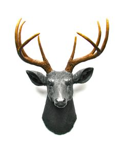 Faux Taxidermy Deerman the Deer Head Wall Mount Wall Decor Home Decor in charcoal grey with natural-looking antlers: Deerman the Deer Head Hipster Home, Geometric Nature, Grey Home Decor, Stag Head, Brand Book, Faux Taxidermy, Fabric Bows, Animal Heads, Antlers