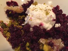 Concord grape granita -- goats milk, pistachio, honeycomb More