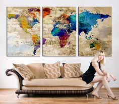 17678 large wall art world map canvas print watercolor world map canvas print large world map canvas art print large wall art multicolor world map art extra large watercolor world map print gumiabroncs Image collections