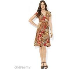 Lauren Ralph Lauren Petites' Pasiley Surplice Dress Women'S, Size P/Xs