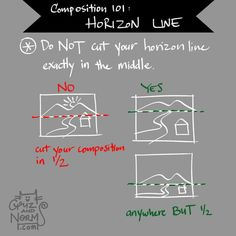 Todays' tips is very easy to remember – Dynamic Composition 101– do NOT cut your composition in half. Put your ground line anywhere but the middle– 1/3, ¼, 1/5 top or bottom is good. Avoid symmetry between top to bottom to make your composition more...