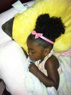 Afro puff snoozing