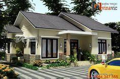 mau-thiet-ke-nha-biet-thu-vuon-1-tang-dep Small Bungalow, Bungalow Homes, Bungalow House Design, Dream House Exterior, Dream House Plans, Modern House Plans, Minimalist House Design, Minimalist Home, Modern House Design