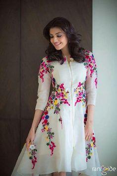 Kajal Agarwal Off White Georgette Party Wear Kurti - Sale Kurta Designs, Blouse Designs, Pakistani Dresses, Indian Dresses, Indian Outfits, Anarkali Dress, Party Kleidung, Desi Clothes, Western Dresses