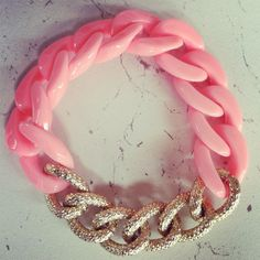 Peachy pink plastic and metal chain bracelet by TheWayWeAre. $26.00 USD, via Etsy.