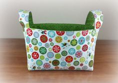 Snowman Toss with Green Snowflake  ~ Medium Fabric Basket Storage Bin