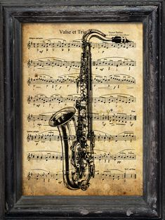 Print Art Christmas gift Collage Mixed Media Saxophone by rcolo