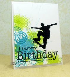 handmade birthday card ... grunge splats and circles and partial grid  in bright blue and chartreuse ... black inked silhouette of skateboarder in the air ... bold HAPPY BIRTHDAY... great card for a teenage boy ...