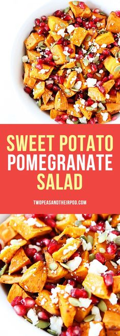 Sweet Potato Pomegranate Salad with feta cheese, pepitas, and a light pomegranate dressing. Serve this healthy dish at your holiday meal! It is the perfect side dish! #sweetpotato #GlutenFree #fall #Thanksgiving #vegetarian