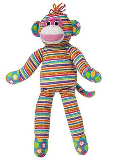 "Mary Meyer Sock Monkey Stripes 17"" Stuff Animal Print Pizzazz Baby NEW"