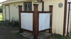April Wilkerson installing TUFTEX PolyCarb Translucent White panels on her outdoor shower. Corrigated Metal, Corrugated Metal Fence, Galvanized Metal, Lake House Bathroom, Backyard Projects, House Projects, Backyard Ideas, Garden Ideas, Diy