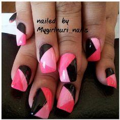 pink & back color blocking b mygirlnuri nails