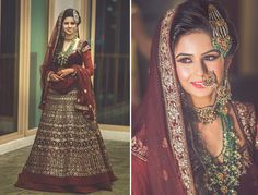 #WeddingSutraP2W  deep maroon lehenga with gold work by Rohit Bal for the Sangeet of Real Bride Smridhi of WeddingSutra.