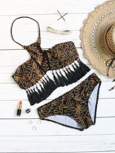 Black Printed Halter Fringe Trim Bikini Set