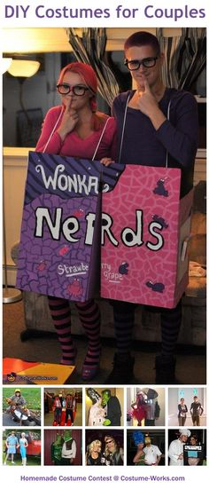Homemade Costumes for Couples - a lot of DIY costume ideas! Hey, look! The Nerds are my brother and his girlfriend ;) @Leslie Lippi Lippi Riemen Wilburn. You guys should totally do this!