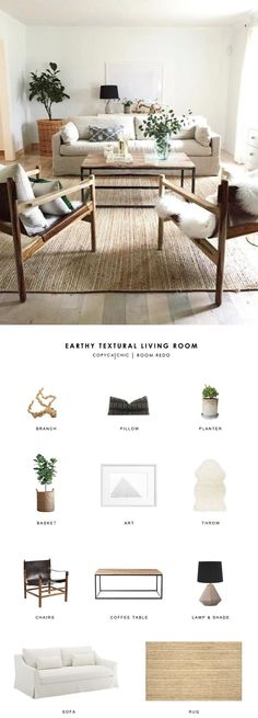 Copy Cat Chic Room Redo   Earthy Textural Living Room