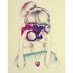 beautiful, bun, drawing, girl - inspiring picture on Favim.com