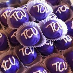 Fabulous custom TCU cake balls from Have A Ball, Cake Balls!!! Check them out!! www.bestcakeballs.com