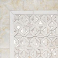 #MosaicMonday featuring Joie, a water jet mosaic shown in polished Cloud Nine, Dolomite and Shell. Part of the Aurora Collection by New Ravenna.