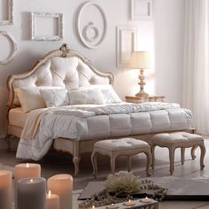 Ornate Italian Button Upholstered Bed