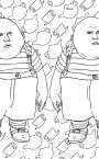 Tweedle Dum and Tweedle Dee and other characters from Tim Burton's Alice, along with some other random Alice coloring pages  http://www.supercoloring.com/pages/category/cartoons/alice-in-wonderland/