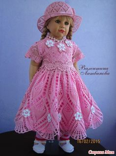 Crochet Baby Dress Pattern, Baby Knitting Patterns, Crochet Doll Clothes, Knitted Dolls, American Doll Clothes, Crochet Woman, Crochet Designs, Creations, Girls Dresses