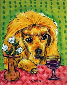 Hey, I found this really awesome Etsy listing at https://www.etsy.com/listing/88527306/auburn-poodle-at-the-wine-bar-dog-art