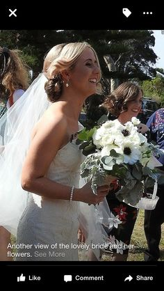 Flowers bridal bouquet red pearl couture gown