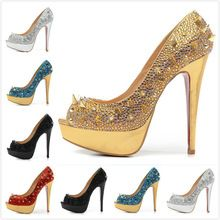 Size:35-41 Women's 14cm High Heels Gold Crystal & Mix Spikes Red Bottom Sandals,Ladies Luxury Fashion Peep Toe Pumps,Party Shoes(China (Mainland))