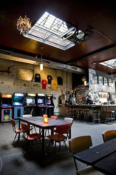 Barcade, a bar featuring local brews and classic video games in Brooklyn, NY USA