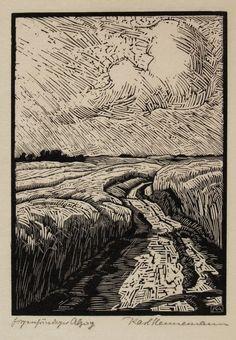 Fünf Landschaftsdarstellungen (Five Landscapes) - Karl Hennemann (1884-1972) woodcut