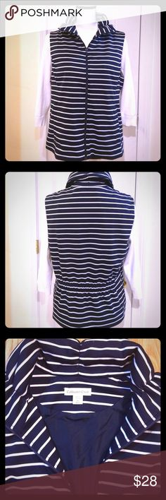 Coldwater Creek Navy and White Stripped Vest Sz M Coldwater Creek navy blue and white stripped zipped up vest size M. Vest is really cute and with the outside being soft with an inside liner. Vest is a nice and lightweight and perfect for the spring and fall. Vest is new never been worn and in excellent condition. Message me with any questions. Coldwater Creek Jackets & Coats Vests