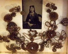 Image detail for -Pandora's Parlor > Antique Victorian Hair Wreath Shadowbox