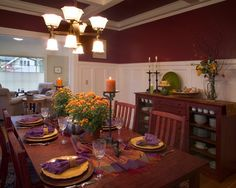 """""""red Dining Room"""" Design, Pictures, Remodel, Decor and Ideas - page 7 Dining Room Walls, Dining Room Design, Wall Trim, Over The Garden Wall, Architecture Details, Living Spaces, Table Settings, House Design, Cabin Ideas"""