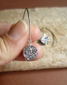 Silver Druzy Earrings Titanium Drusy Quartz by julianneblumlo