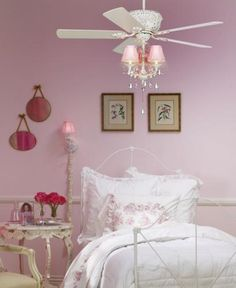 Light pink girls bedroom with chic ceiling fan.