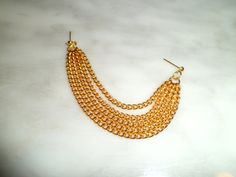 Cascading Double pierced Goldtone Fringe chain single by EdgYSheeQ