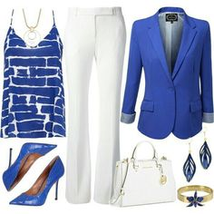 Fashion Style Combination-White & Blue Work outfit with accessories, and beautiful blue pumps - Fashion Combine Business Attire, Business Fashion, Business Formal, Business Casual, Work Fashion, Fashion Outfits, Womens Fashion, Classy Outfits, Cute Outfits