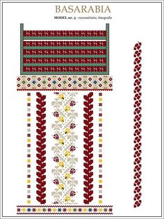 traditional Romanian pattern - north of Bessarabia Folk Embroidery, Learn Embroidery, Floral Embroidery, Embroidery Patterns, Stitch Patterns, Knitting Patterns, Cross Stitch Letters, Cross Stitch Fabric, Palestinian Embroidery